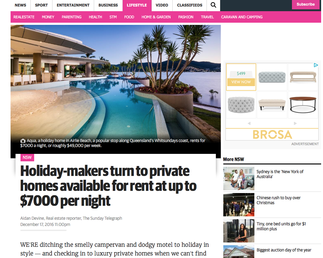 Holiday-makers turn to private homes available for up to $7,000 per night