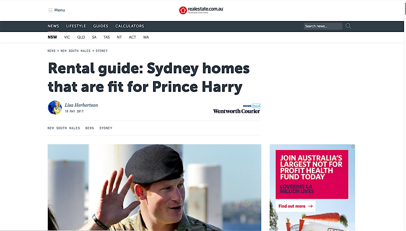 Rental guide: Sydney homes that are fit for Prince Harry